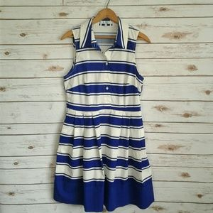 Milly Striped Shirt Dress Cobalt Royal Blue White